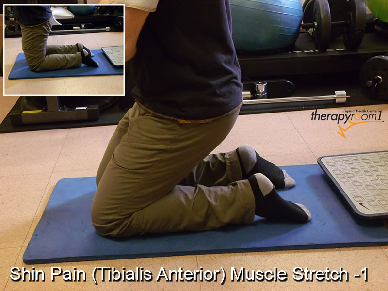 shin pain stretch for tibialis anterior muscle