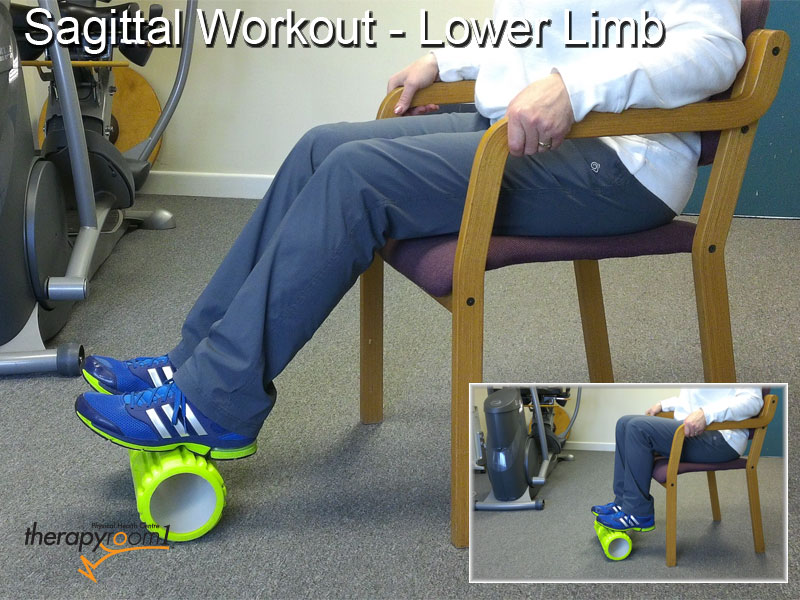 therapyroom1 picture of a patient who is rolling a foam roller under her feet to exercise the hip, knee and ankle